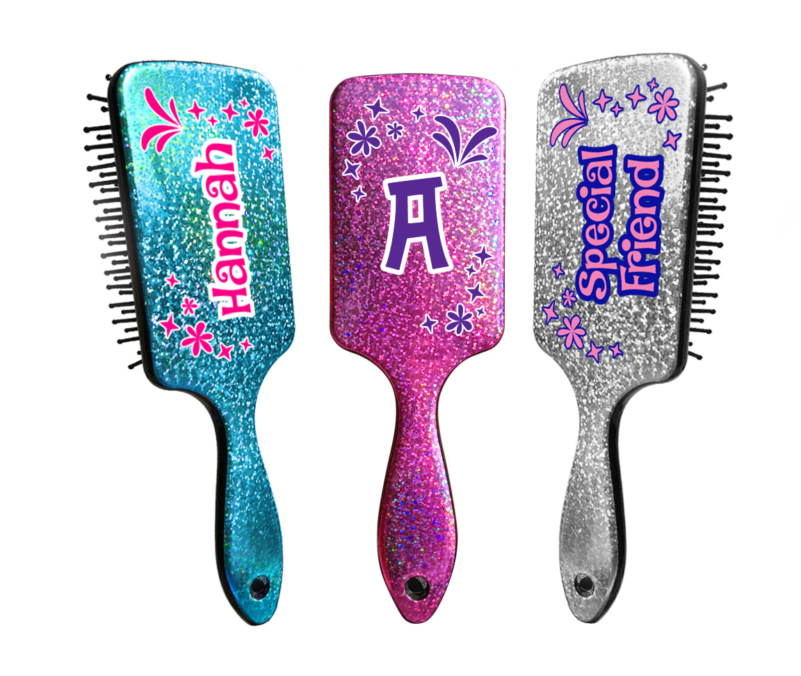 Personalised Sparkly Hair Brushes