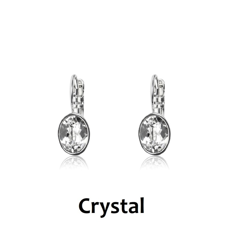 Swarovski Crystal (Small Oval) French Clip Earrings