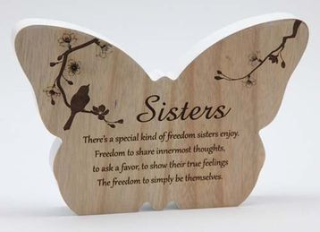Sincerity Butterfly Sentiment Plaque - Sisters - Arton Giftware