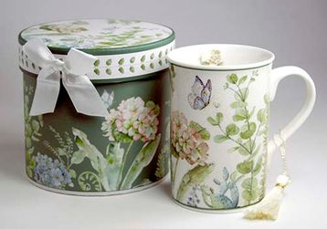 T Time Mug With Gift Box Hydrangea Green - Arton Giftware