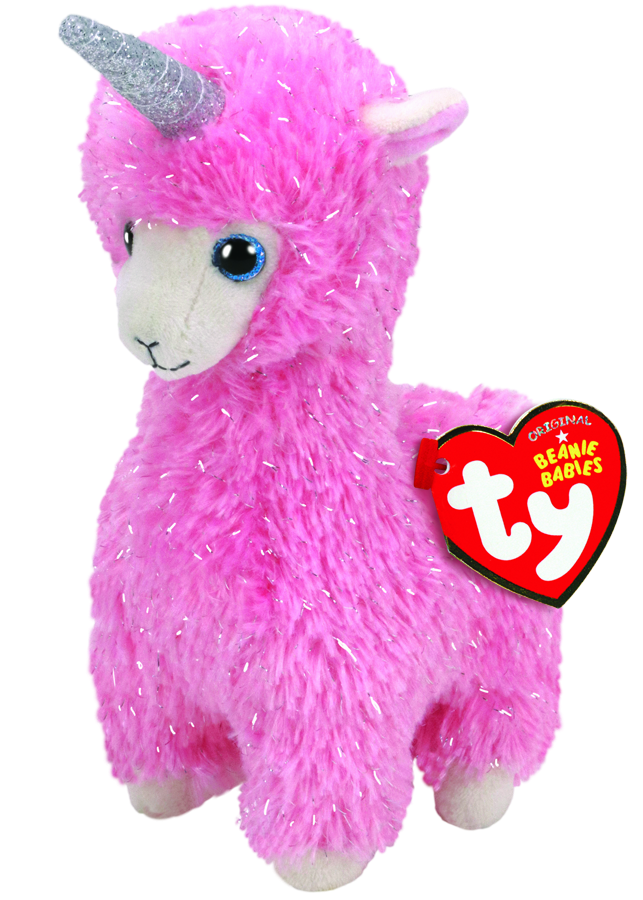 Beanie Babies Regular - Lana the Pink Llama (with horn)