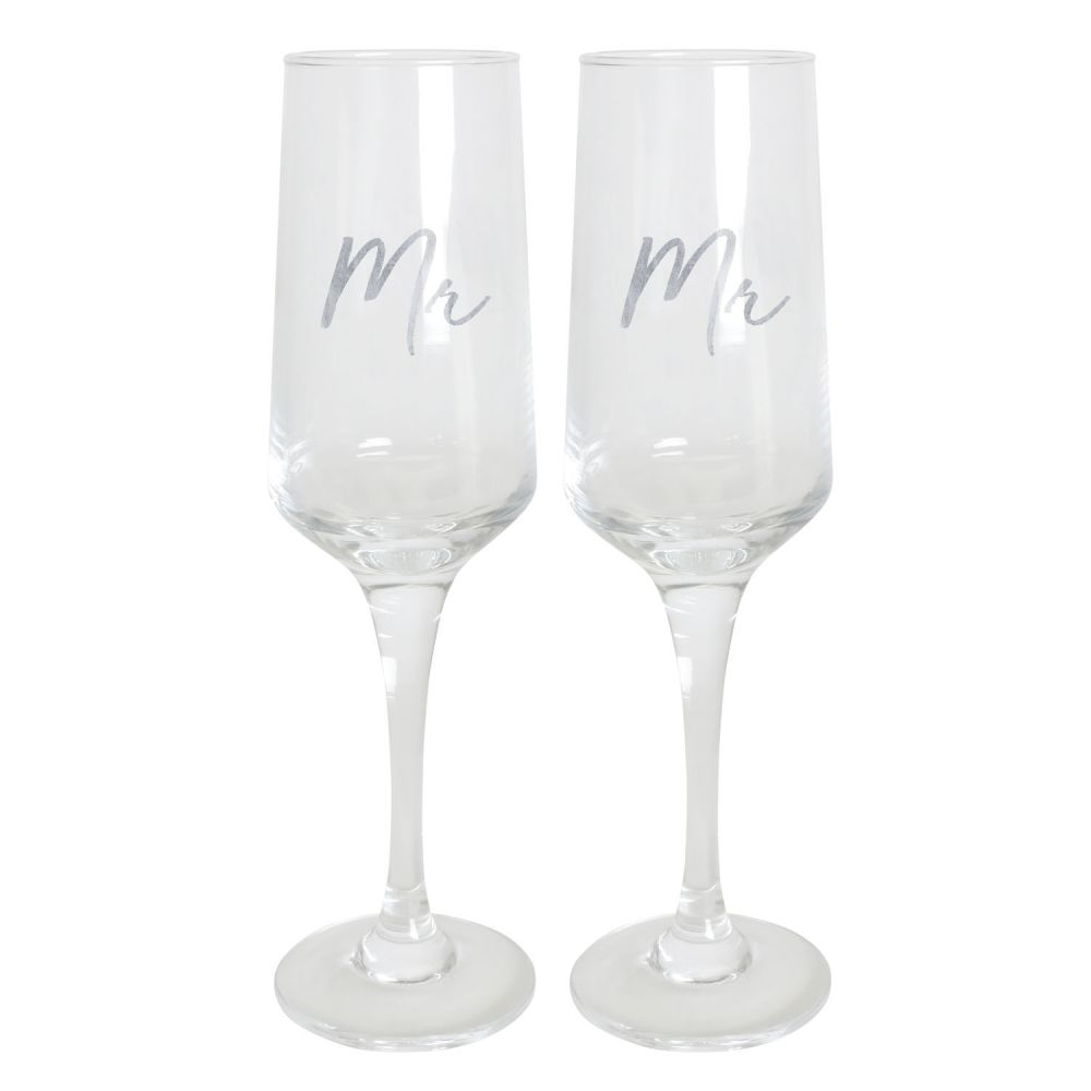 [WEDD038] Wedding Mr & Mr Champagne Flute Set - Splosh